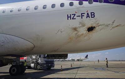 صور الدمار في مطار ابها الدولي