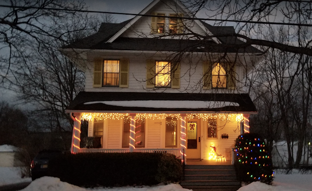 Christmas lights on front of 3 Elm St Newton NJ Authenticated Sears No 163 of Reuben Talmage