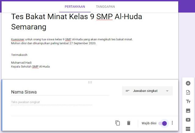 cara membuat google formulir step 2
