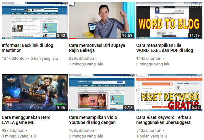 Chennel Youtube Mastimon Orisinil Untuk Motivasi Pemula Blogger
