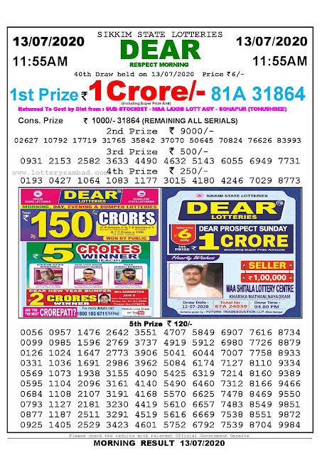 Sikkim State Lotteries 13-07-2020 Lottery Sambad Result 11:55 AM