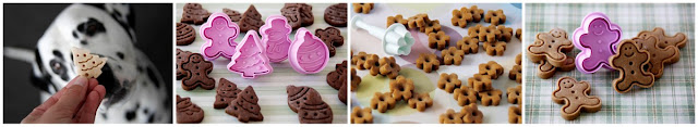 A collage of DIY dog treat decorating ideas for fancy homemade treats with plunger cookie cutters