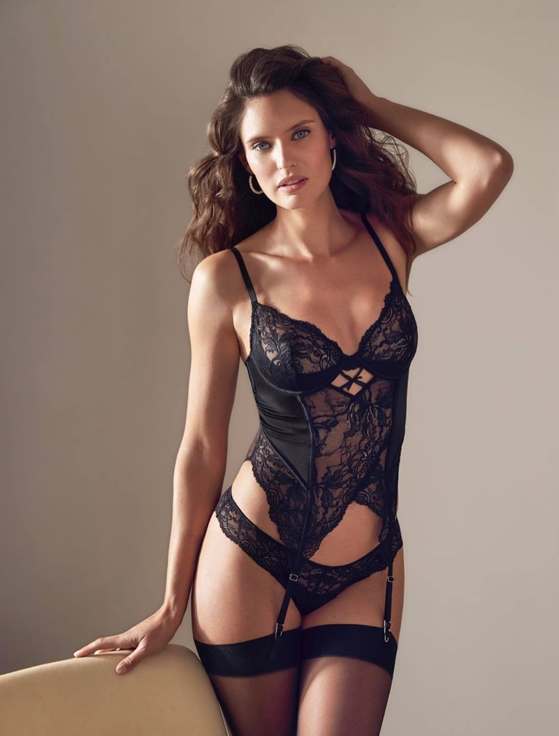 Dressed in lace, Bianca Balti fronts Yamamay spring 2021 lingerie campaign.