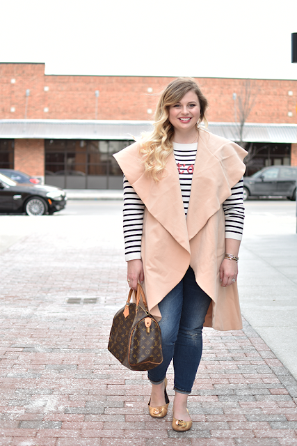apricot sleeveless lapel vest talbots sweater blue and white stripes jcrew denim toothpick denim louis vuitton speedy 30 tory burch reva flats tiffany and co diamonds by the yard