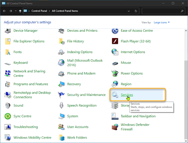 Cara menghapus atau menambahkan Services.msc ke Control Panel di Windows 10