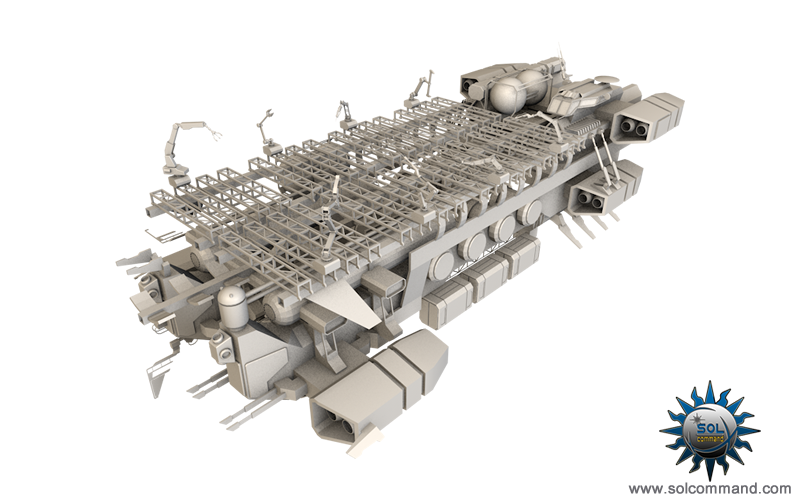shipyard space ship spaceship spacecraft industrial mobile base construction repair assistance free download 3d model