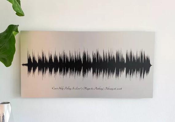 Artsy Voiceprint 10 year anniversary tin sound wave art