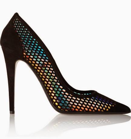 Tamara Mellon Miami Vice holographic coating suede heels