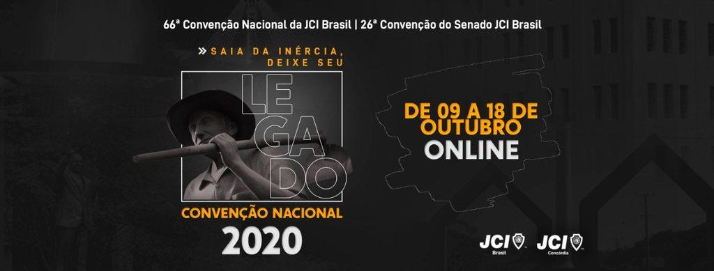 66ª Convenção Nacional da JCI Brasil, pela primeira vez, devido à pandemia, o evento será 100% online
