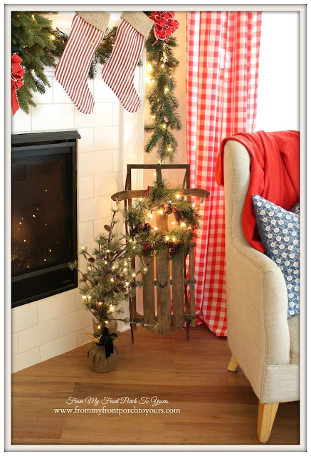 Farmhouse Christmas Mantel-Vintage Christmas-Vintage Sled-Red Check Curtains- From My Front Porch To Yours