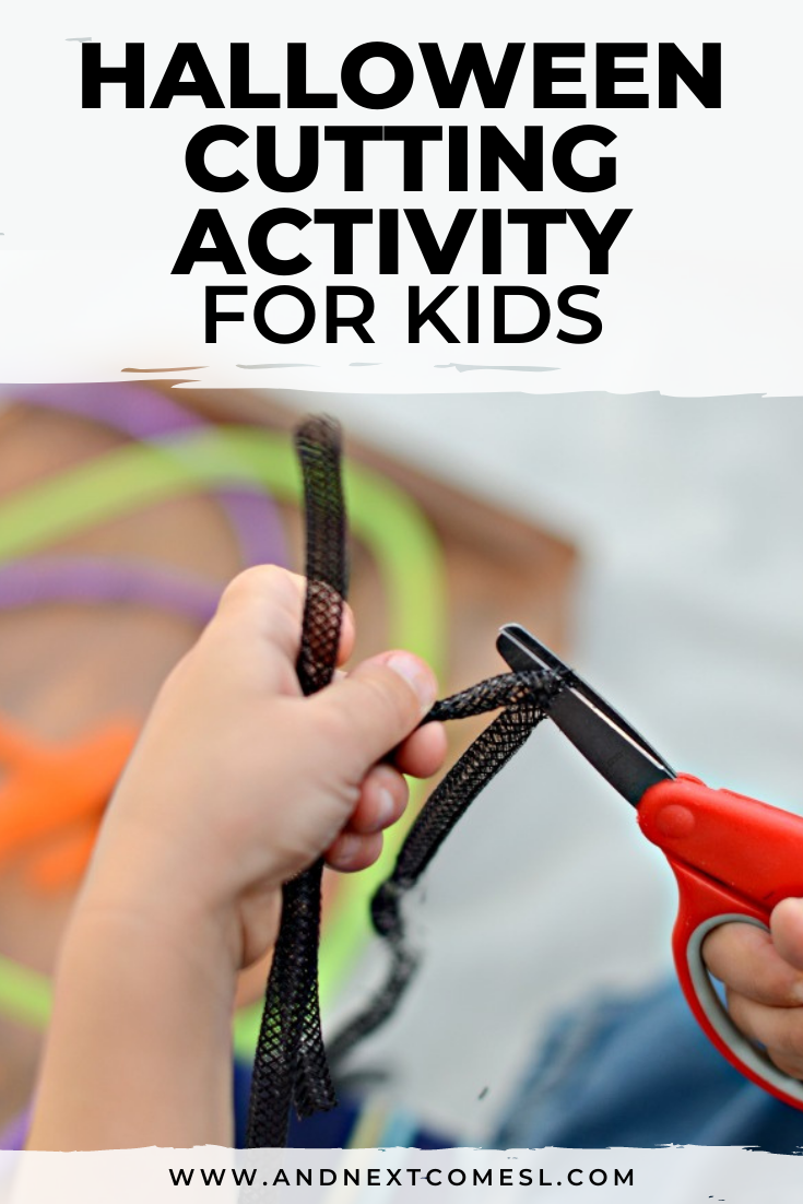 Fine motor Halloween cutting activity for kids to practice scissor skills