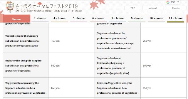 さっぽろオータムフェスト2019 Vegetable Kichen(英語メニュー)
