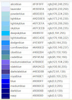 kumpulan kode warna yang sejenis