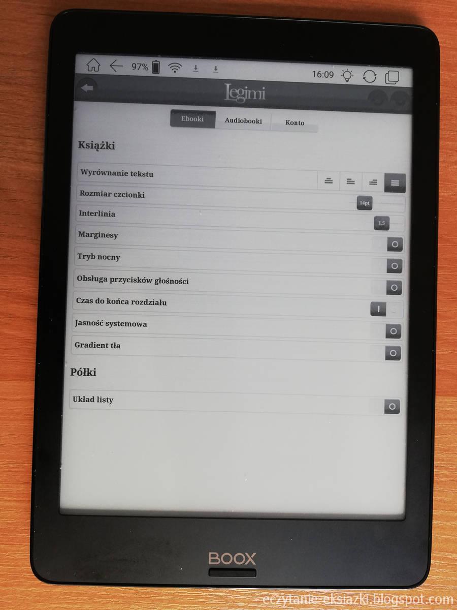 Ustawienia e-booka w aplikacji Legimi na czytniku Onyx Boox Nova