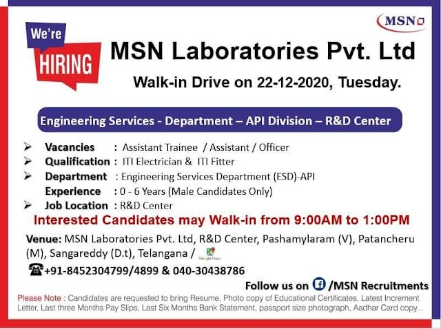 MSN Labs | Walk in Drive for API - ITI Electrician & ITI Fitter on 22nd Dec 2020