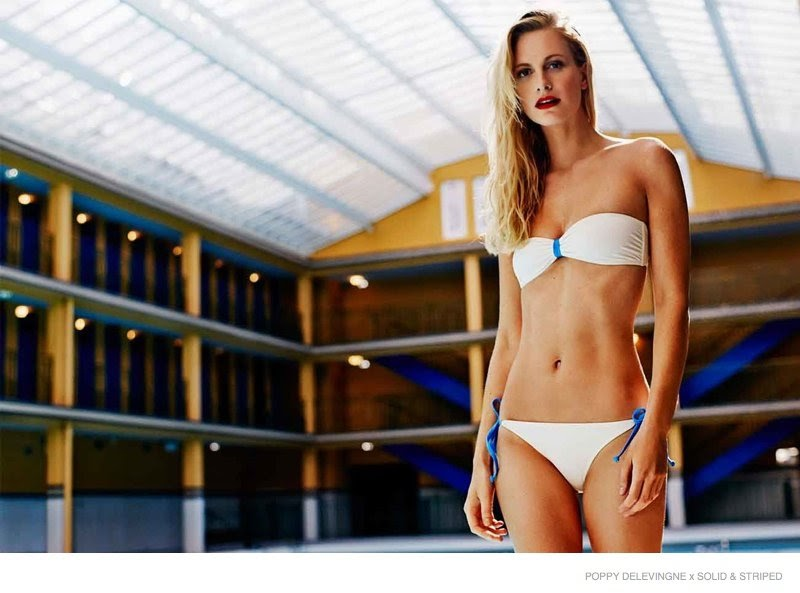 Solid and Striped Swimsuit Lookbook featuring Poppy Delevingne