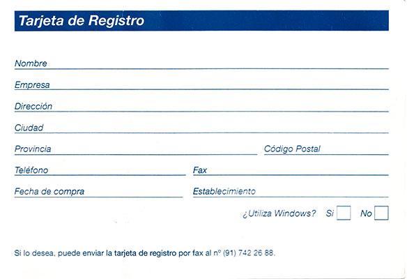 PC Mus Tarjeta de registro
