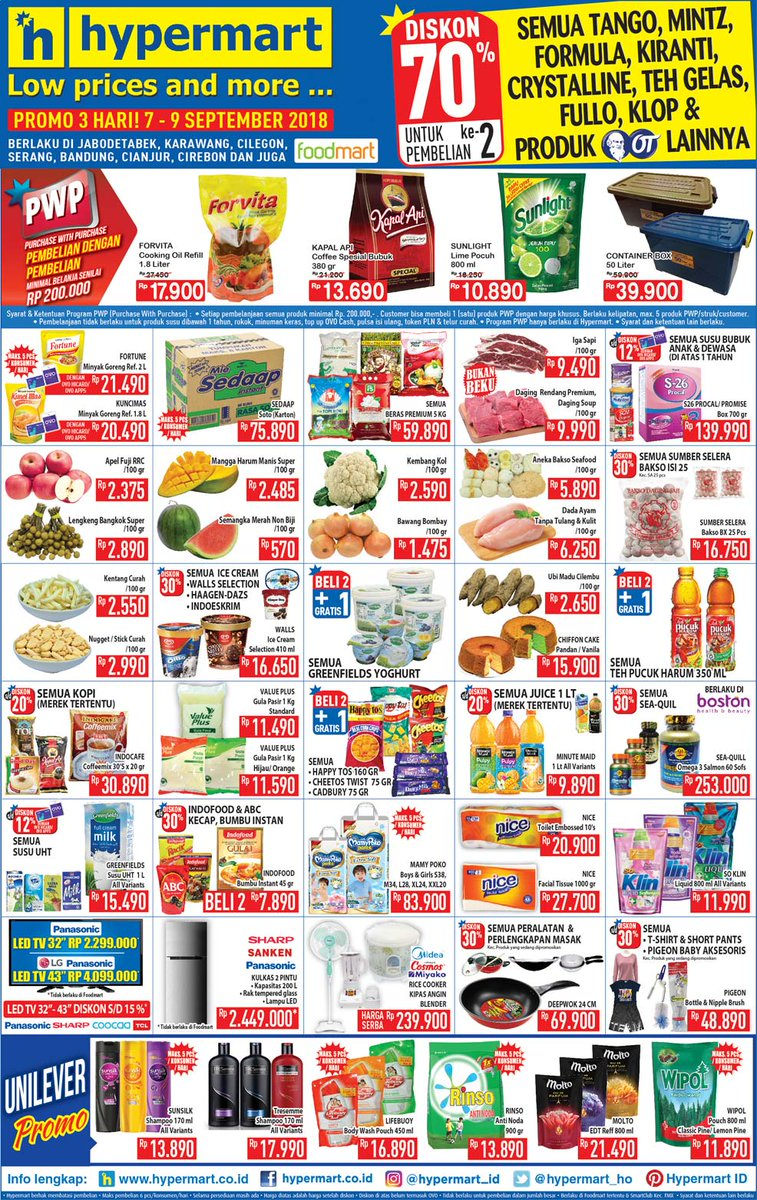 Hypermart - Katalog Promo Low Price and More Periode 07 - 09 Sept 2018