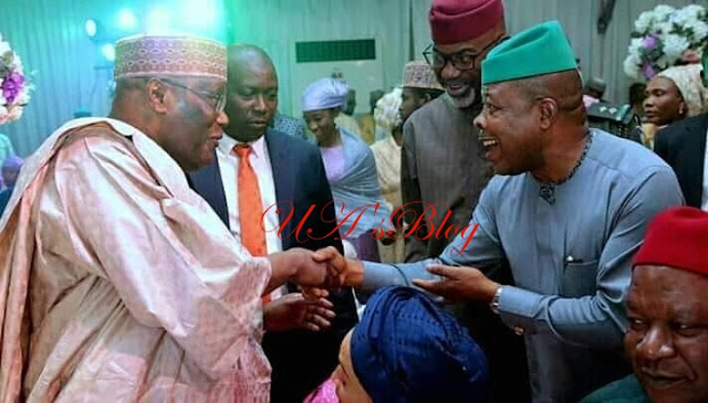 Tinubu All Smiles As He Joins PDP Chieftains To Attend Wedding of Atiku's Son (Photos)