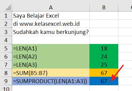 Menghitung jumlah huruf banyak sel sekaligus