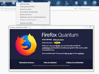 Copie écran de la localisation des mises à jour sur Firefox
