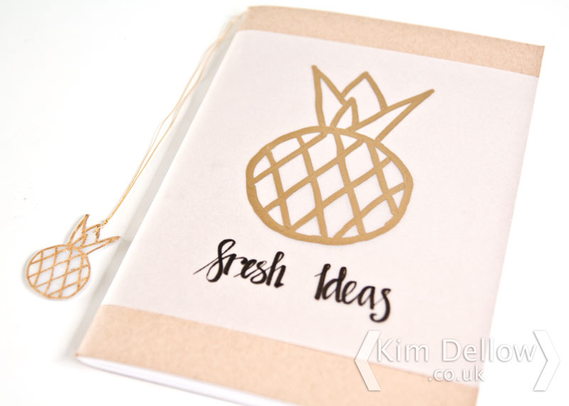 Gold Pineapple notebook cover and matching bookmark