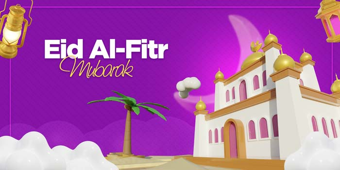 Eid Al Fitr Banner Template With Mosque 3D Rendering