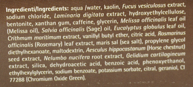 Cell Plus® - Anti Cellulite Algenfango Inhaltsstoffe, Ingredients INCIs