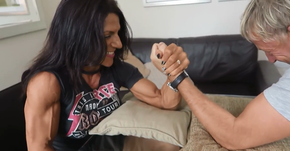Strong Muscular Women Vs Men, Mixed arm wrestling