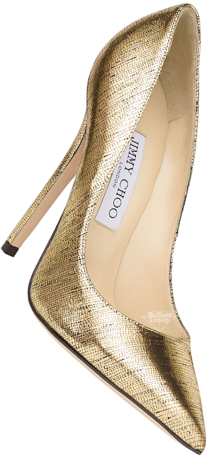 Jimmy Choo Anouk Metallic Gold Lizard Print Leather Pointed Pumps #brilliantluxury