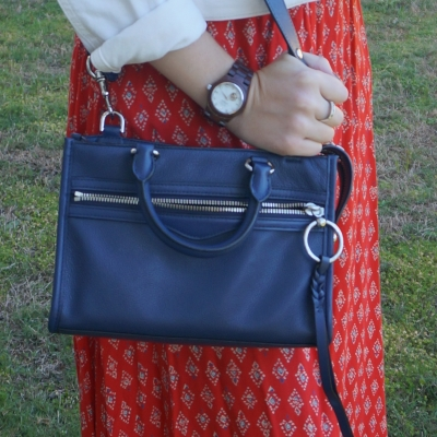 red printed maxi skirt with navy Rebecca Minkoff Micro Bedford zip satchel in twilight | awayfromtheblue