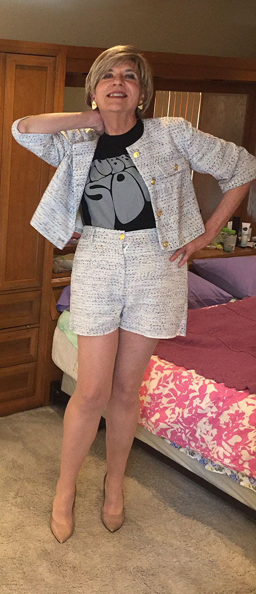Wearing a Rubber Soul tee with JustFab tweed high-waisted shorts, JustFab crop jacket and the wrong shoes.
