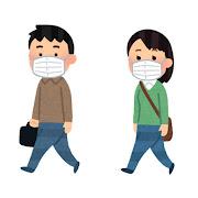マスクを付けて歩く人のイラスト