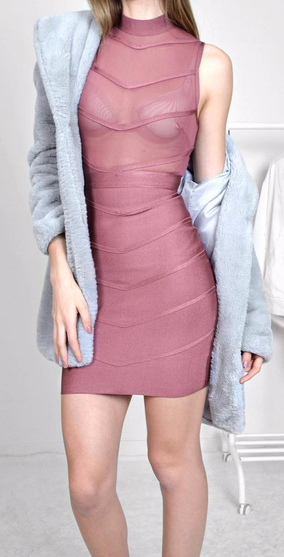 amazing pink dress to wear with fur