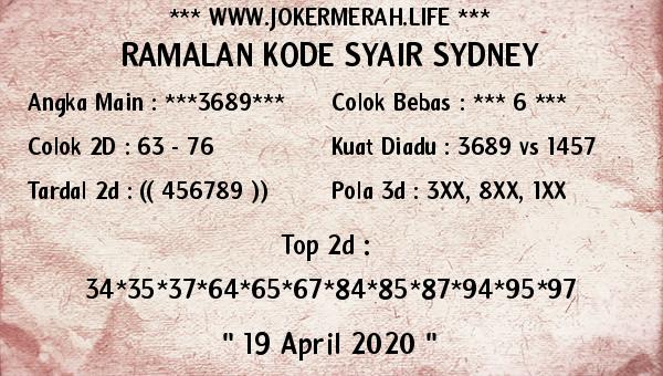 Prediksi Sidney 19 April 2020 - Joker Merah Sidney