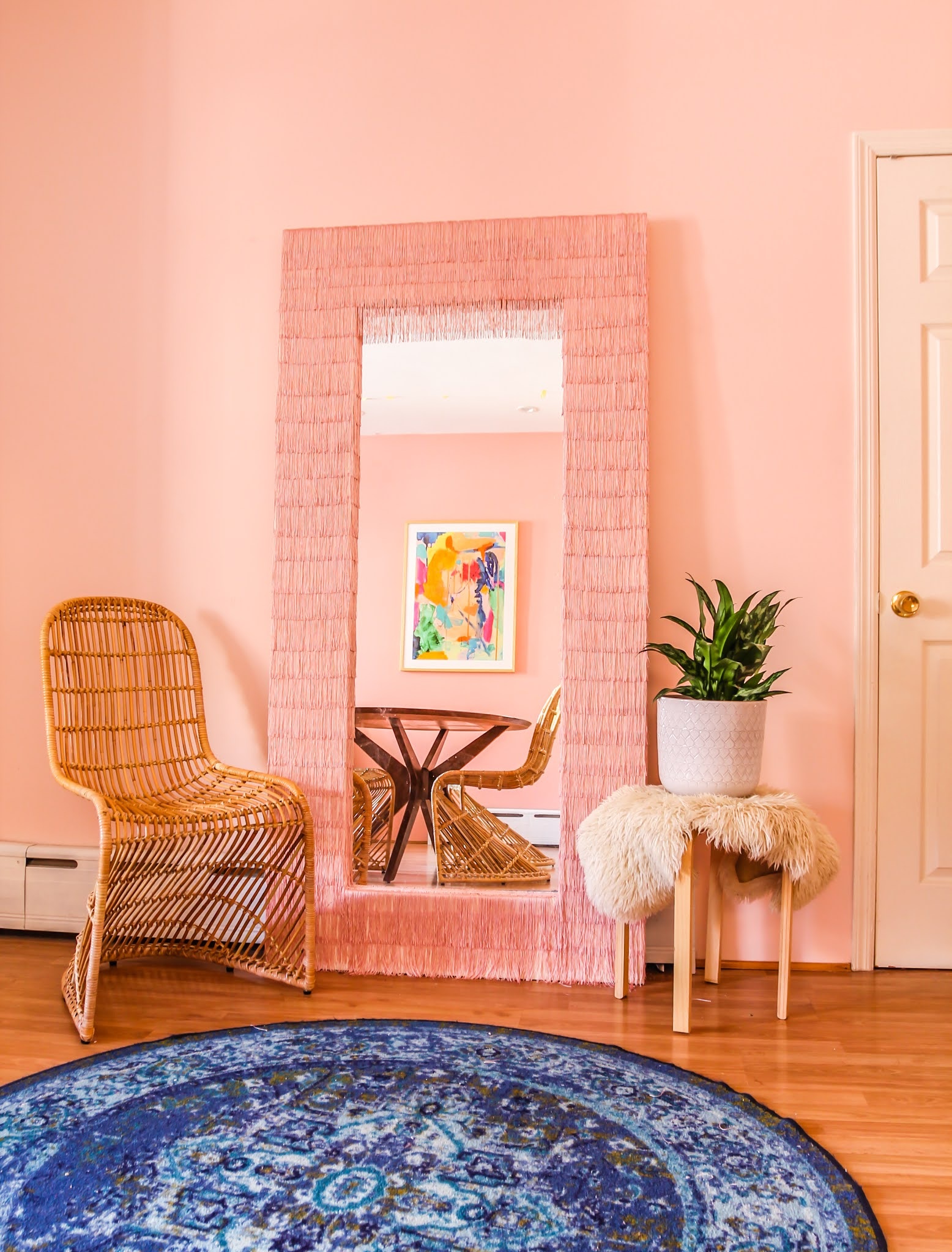 fringe mirror // tfdiaries fringe mirror // Megan Zietz // pink fringe mirror // chainette fringe mirror // floor mirrors // full length mirrors // selfie mirrors // ikea mongstad mirror hack // ikea mirror hack // ikea mirror hacks