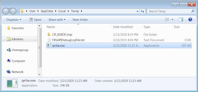 Cuando se ejecuta el script, el ejecutable se guardará en % Temp% \ qeSw.exe y se iniciará