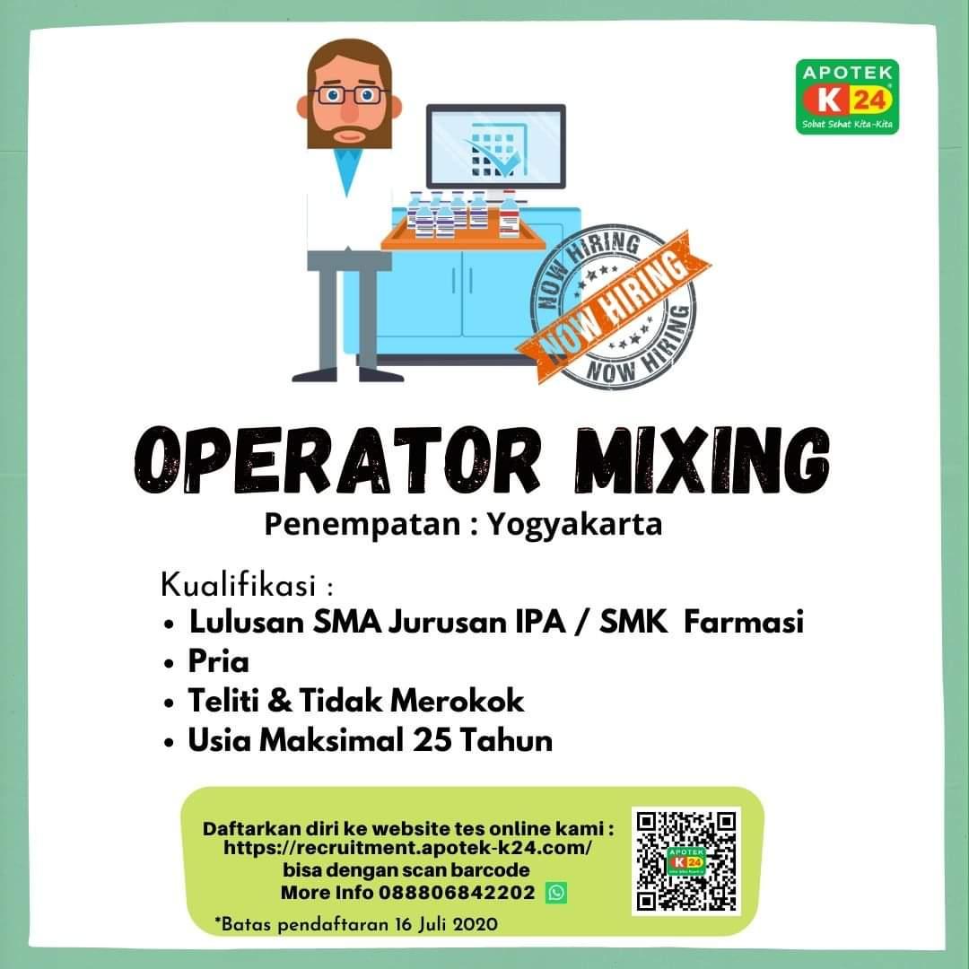 Lowongan Kerja Operator Mixing Apotek K24 Yogyakarta