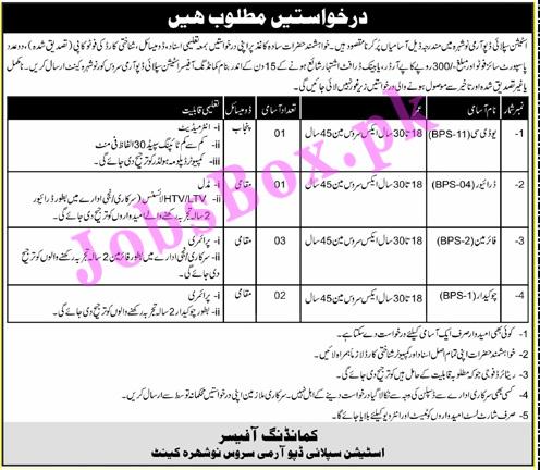 Pakistan Army Station Supply Depot Nowshera Jobs 2021