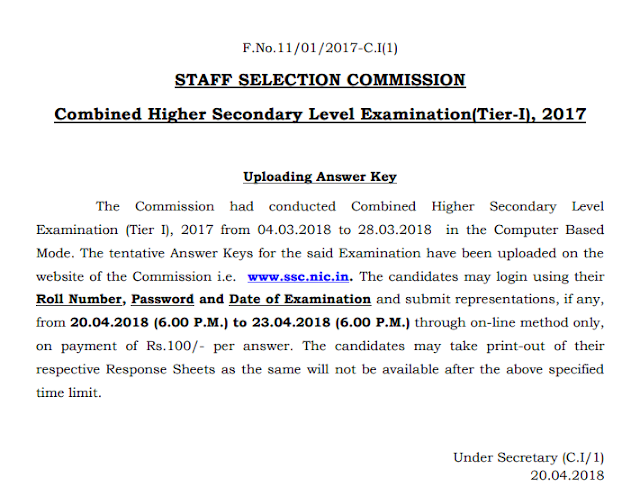 SSC CHSL 2018 Answer Key Out, Direct Link to Check Answers