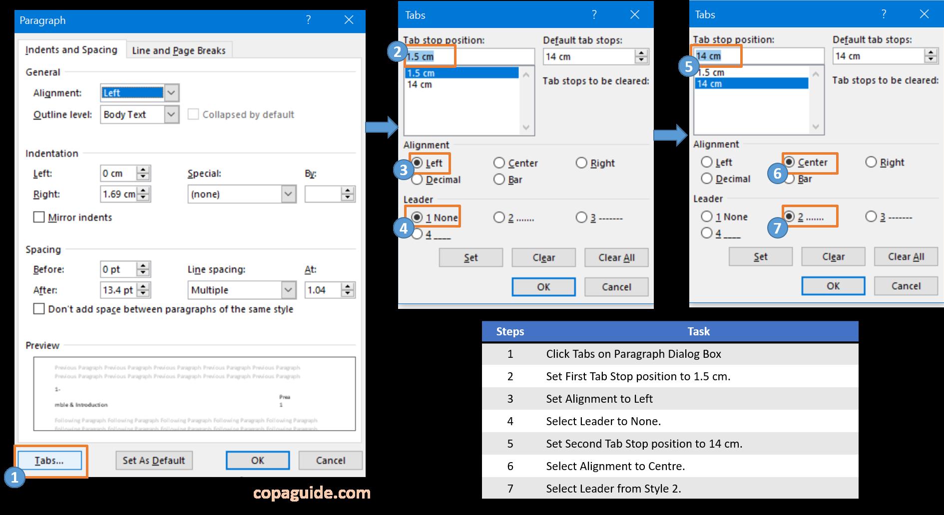 MS-Word Tab Dialog Box