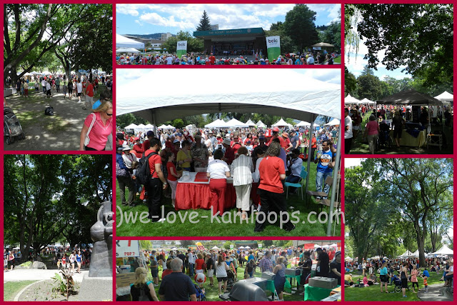 The collage shows several different locations in Riverside Park with crowds of people