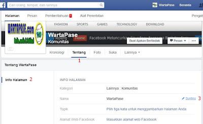 Menganti nama halaman facebook