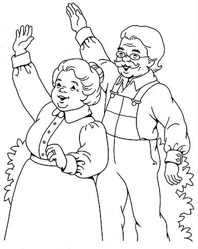 Abuelos Saludando Para Colorear Y Pintar Colorea El Dibujos