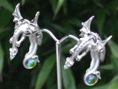 Dragon earrings by Fable in pewter