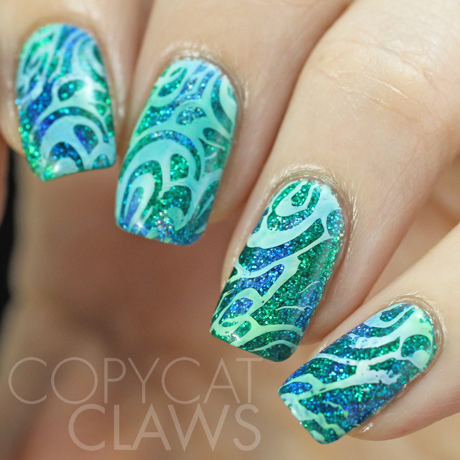 Green Glitter Nail Polish Uk: Copycat Claws: Nail Stamping Over Glitter And Color4Nails