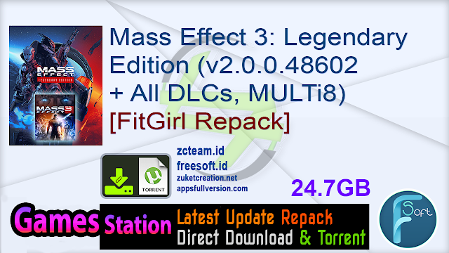 Mass Effect 3: Legendary Edition (v2.0.0.48602 + All DLCs, MULTi8) [FitGirl Repack, Selective Download – from 18.7 GB]