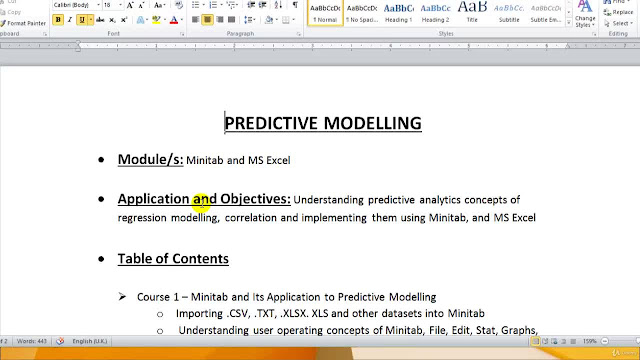 Predictive Modeling, Regression and Statistics using Minitab