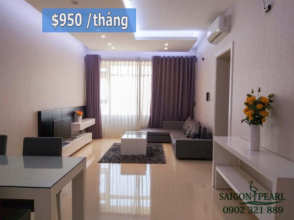 Cho thuê chung cư Sài Gòn Pearl tiện ích 5 sao tòa Sapphire 91m2