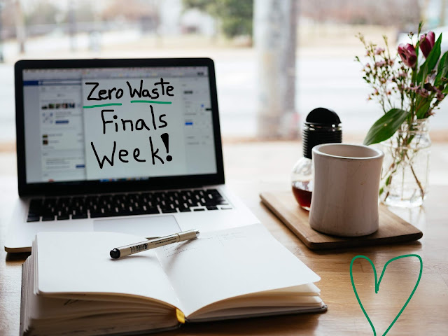 A picture of a desk with studying materials on it with the words Zero Waste Finals Week on it